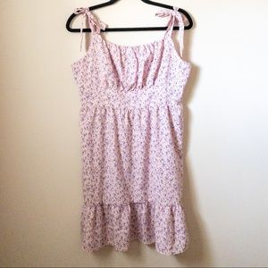 SHEIN Tie Shoulder Ruched Bust Floral Dress